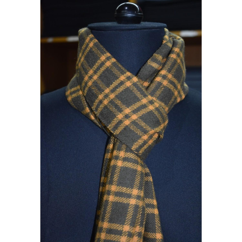 Muffler - PC 100% Handloom Merino Wool 2/20  Mustard and Green