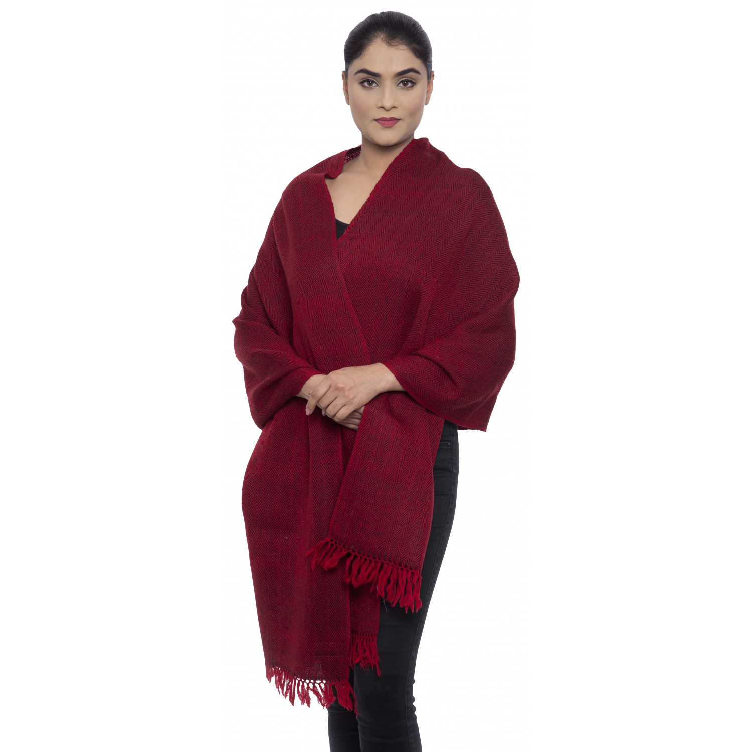 Stole- AO 16 100% Handloom Merino Wool 2/48 Pure Red