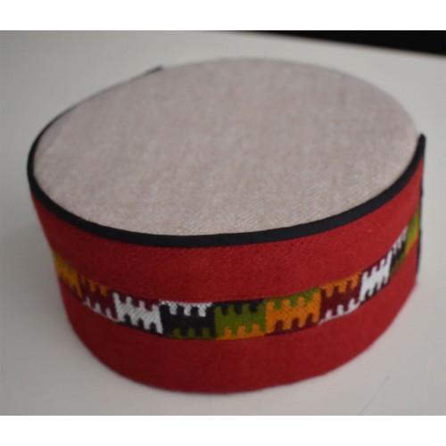 Cap- Malana- 8 No.- 100% Handloom Merino Wool  Red