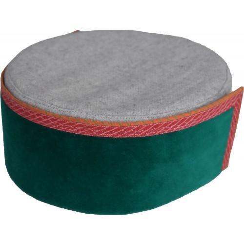 Cap- Kinnauri 7 No 100% Handloom Merino Wool Green