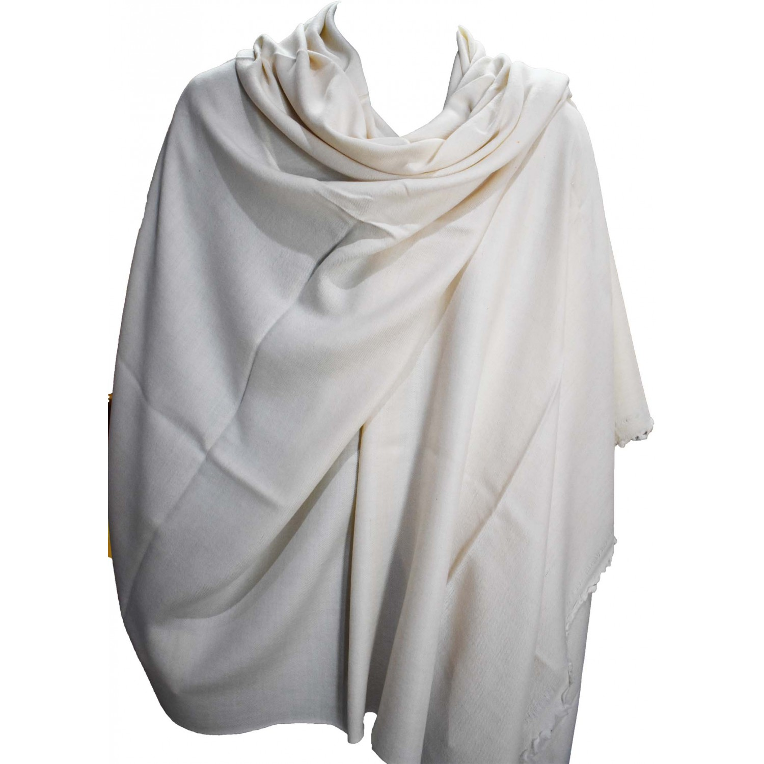 Gents Shawl- Loi Plain Angora and Wool White