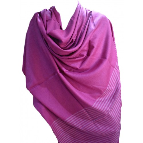 Gents Shawl- Loi PS 100% Handloom Silk & Wool Pink