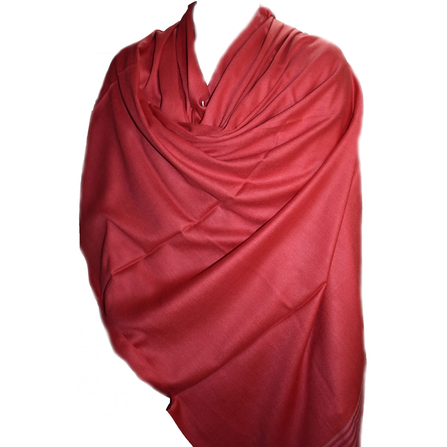 Gents Shawl- Loi PS 100% Handloom Silk& Wool Red