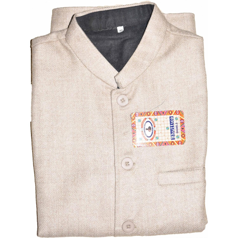 Jacket Nehru - 40 No. 100% Handloom Merino Wool 2/20 Fawn