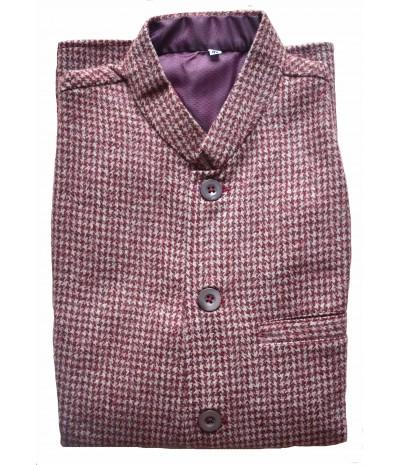 Jacket - Nehru 40 No. 100% Handloom Merino Wool 2/20 Brown