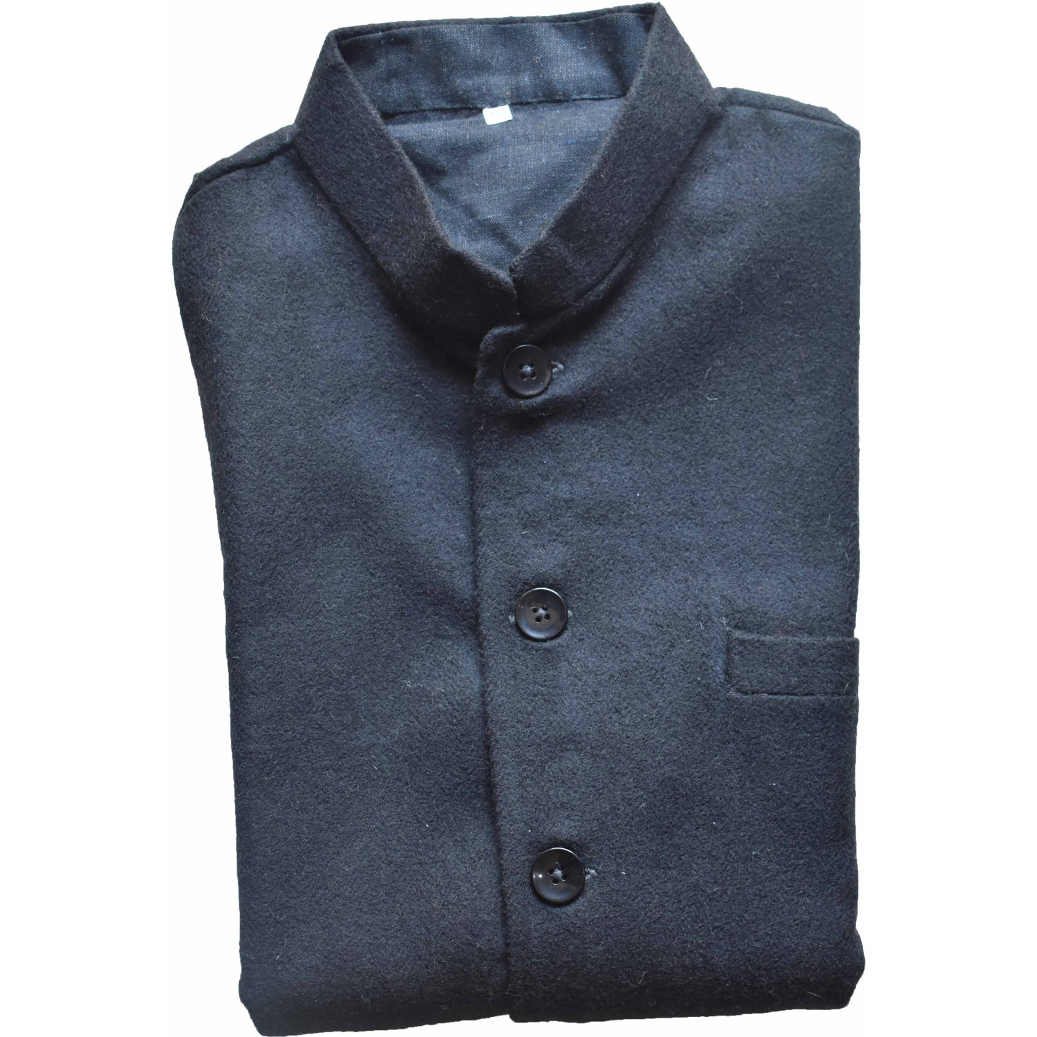 Jacket Nehru 40 No 100% handloom Merino Wool 2/20 Black
