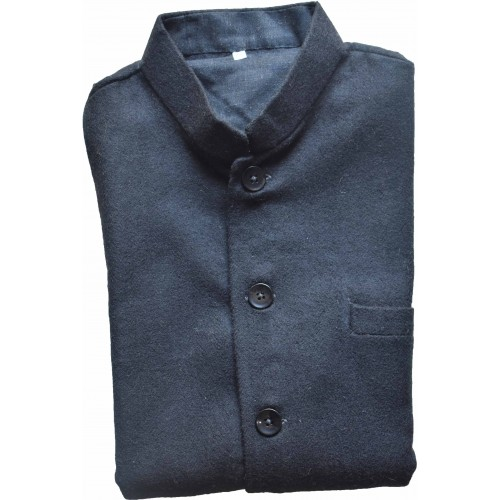 Jacket Nehru - 42 No 100% Handloom Merino Wool 2/20 Black