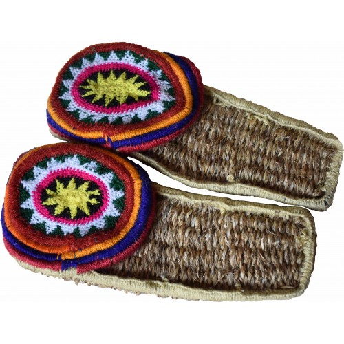 Grass Slippers - Pulla B  Multicolour (Colour of design may vary as each Pullas were made in diffrent colour combinations)