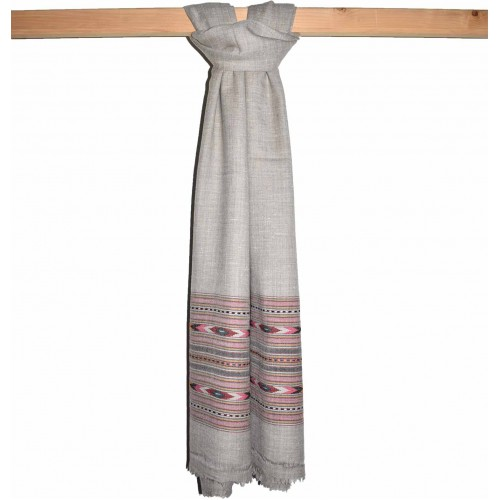 Shawl-397 100% Handloom Angora & Wool Grey
