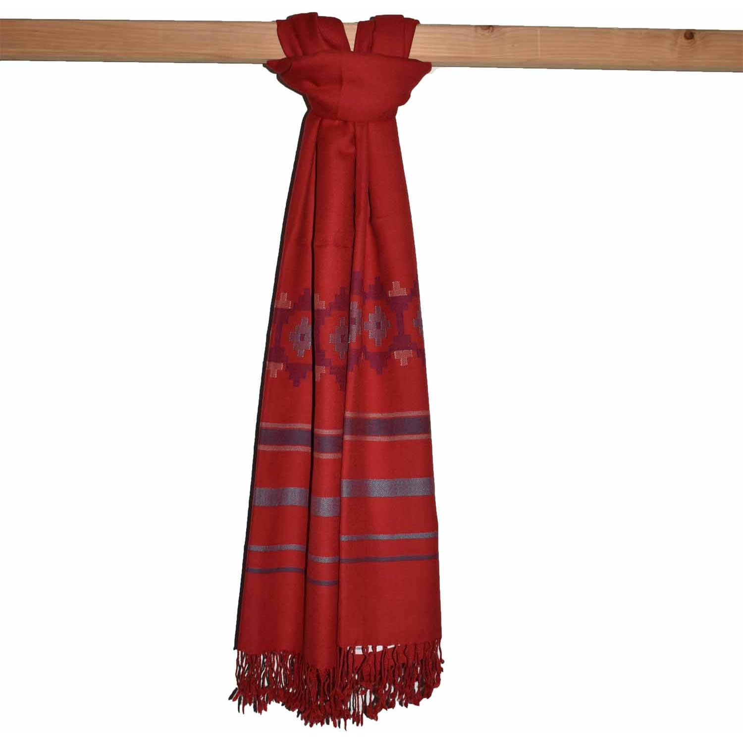 Shawl-Art1 100% Handloom Woolen Shawl 2/72 Red