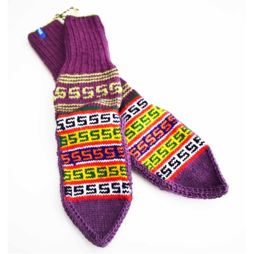 Socks- B2 100% Handmade Cashmilon Multicolour ( Color may Vary)